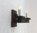 Rustic 2-Light Wooden Wall Light & Pull Switch | Tradwoodlights